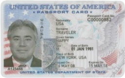 Specimen example of a US-issued Passport Card