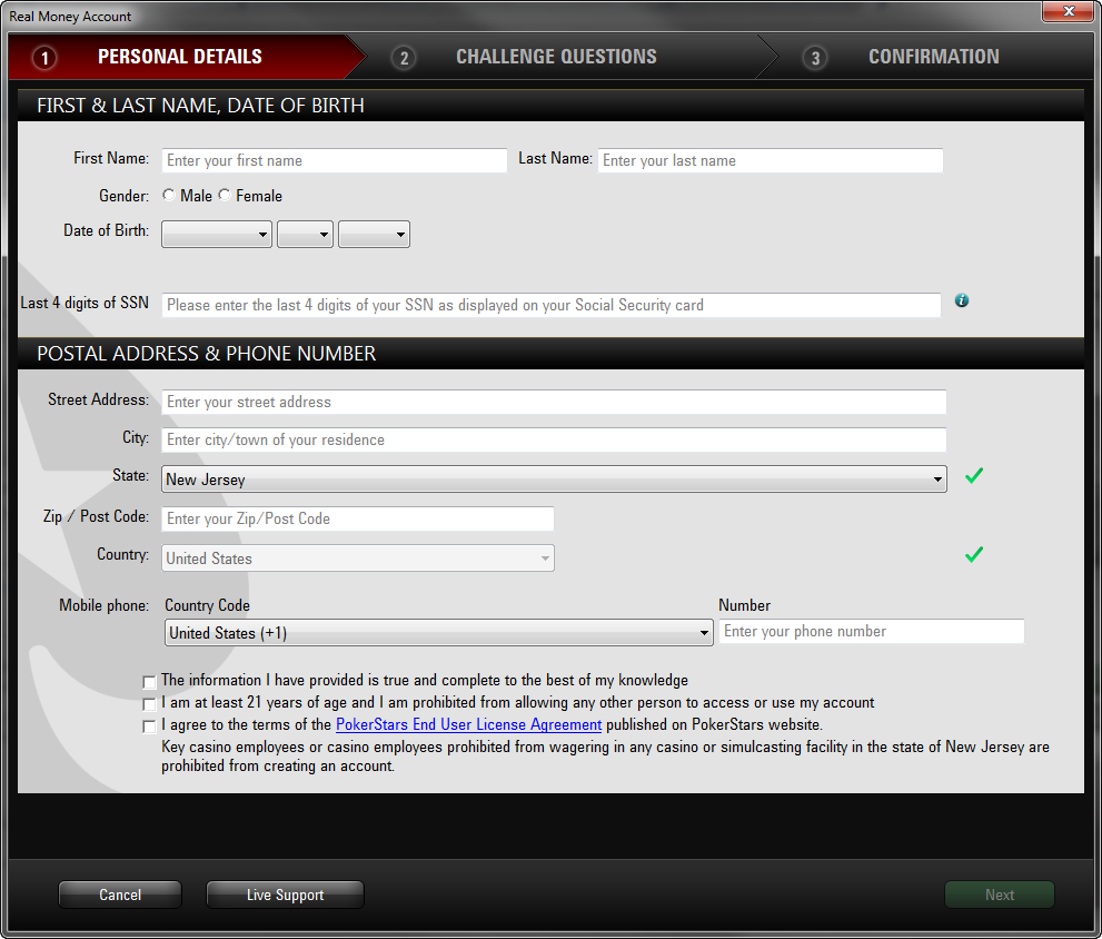 Player Registration Form