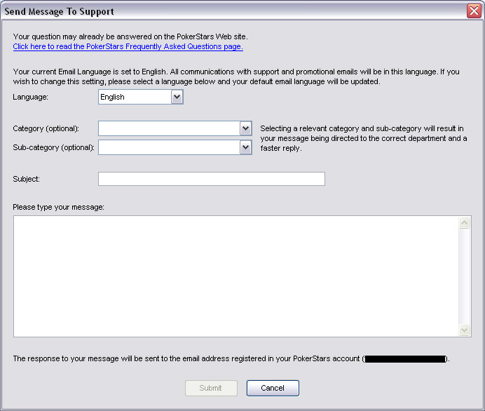 Contact Support Form