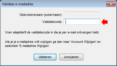 PokerStars Validation Code