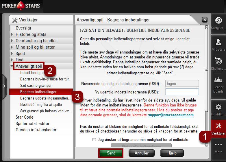 Trin til at sætte indbetalingsgrænser på desktop