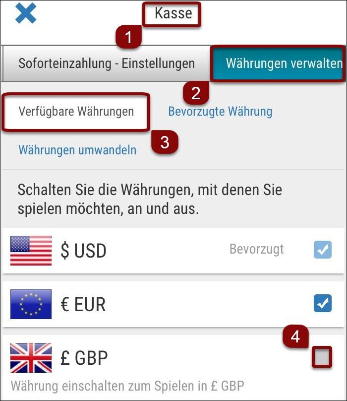 Währungen in Ihrem Konto hinzufügen