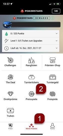 Befolgen Sie diese Schritte, um Ihre Spieltickets in der Mobilgeräte-Software zu nutzen