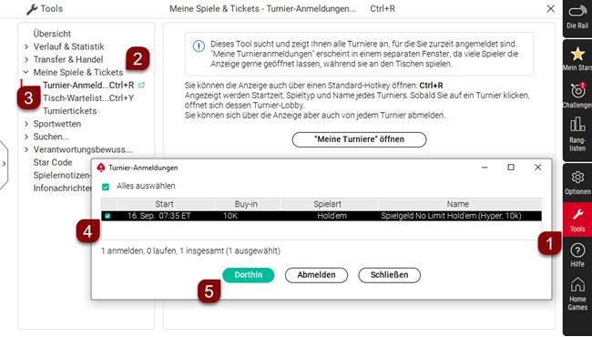 """Desktopsoftware - Funktion """"Turnier-Anmeldungen"""""""