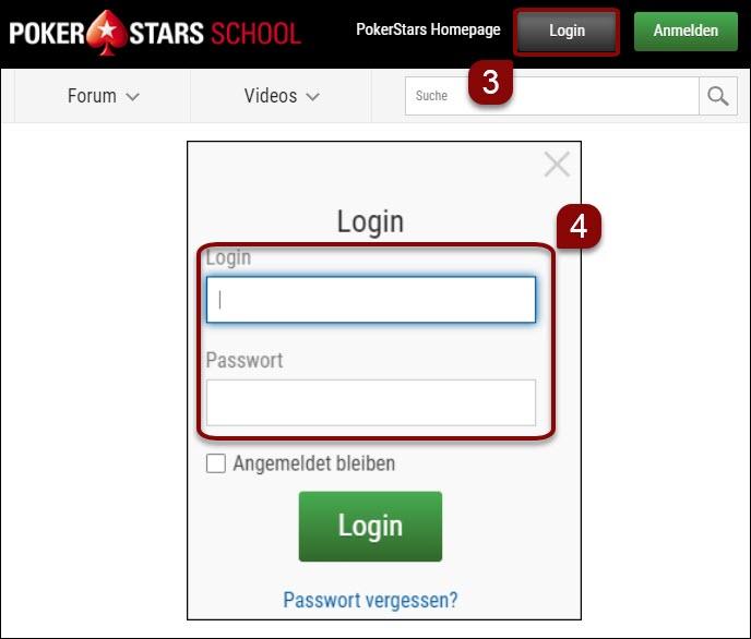 Login auf der PokerStars School-Website - Schritte