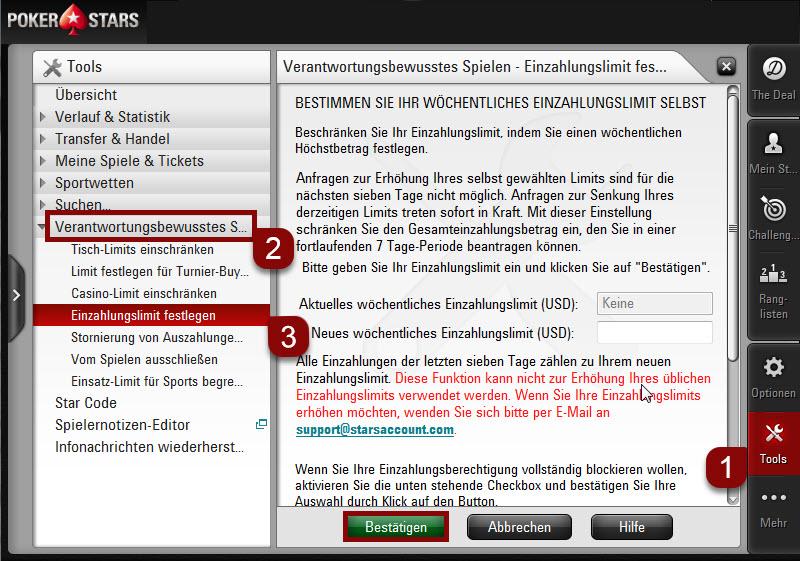 Einzahlungslimits festlegen über die Desktop-Software Schritte