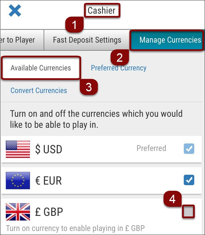 Add currencies on mobile