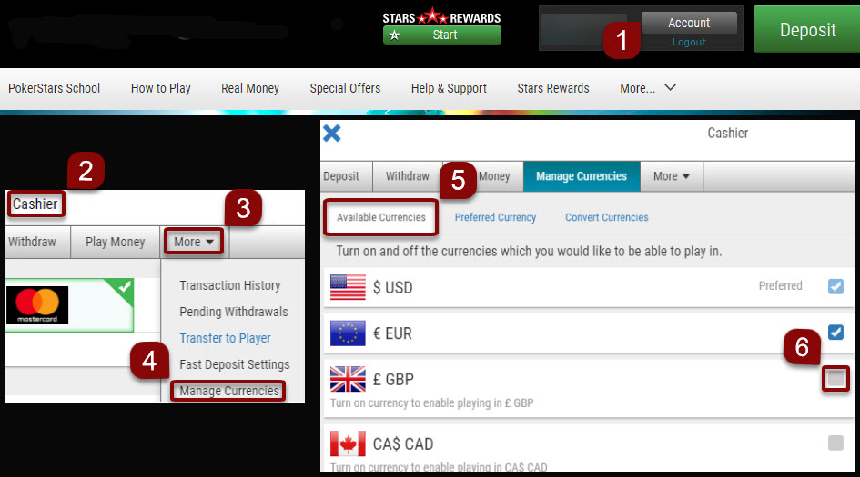 Add currencies on the web application