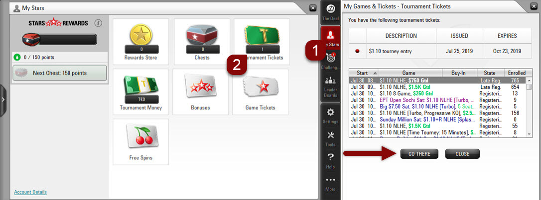 Computer software - Tournament tickets tool