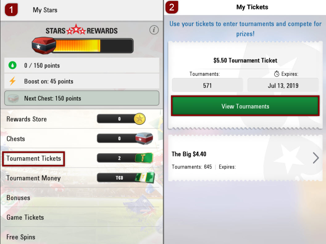 Mobile software - Tournament tickets tool
