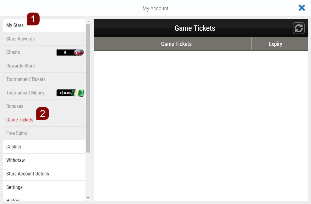 Steps to follow to use your Game Ticket on the Website