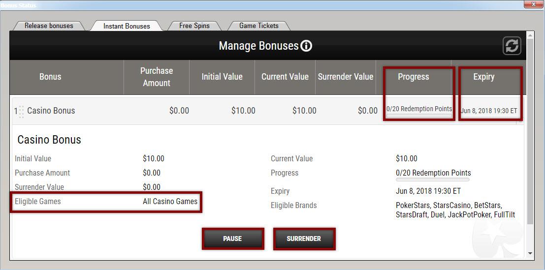 Pending instant bonus report