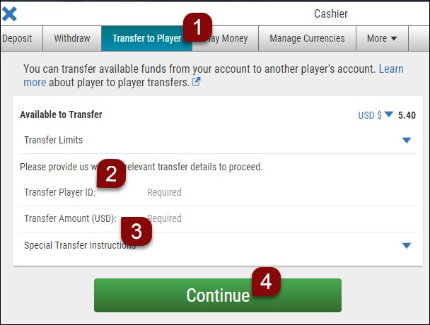 real money transfers instructions
