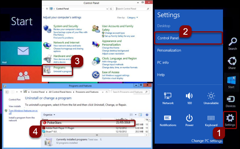 Uninstall software in Windows 8