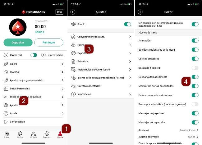 Opciones de la plataforma móvil para 'Mostrar/ocultar manos'