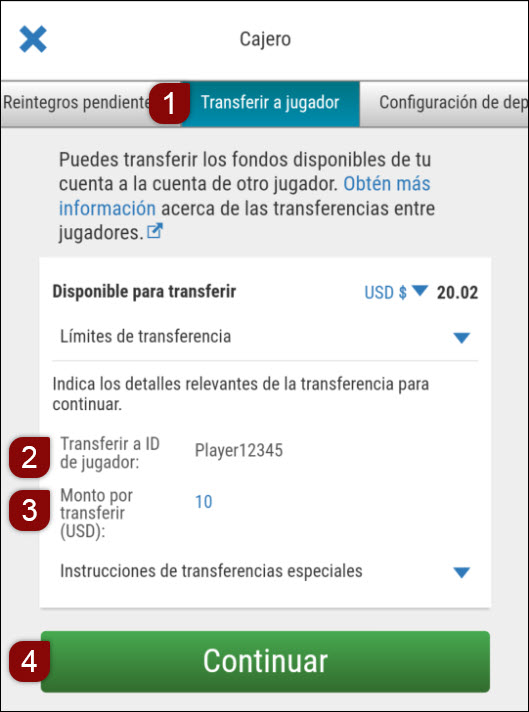 Software móvil - Herramienta de transferencia de jugador a jugador