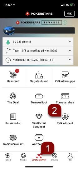 Noudatettavat ohjeet pelilipun käyttämiseksi mobiililla