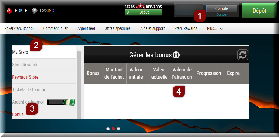 Instructions from the Web client to surrender an Instant Bonus just go to My stars and click on bonuses