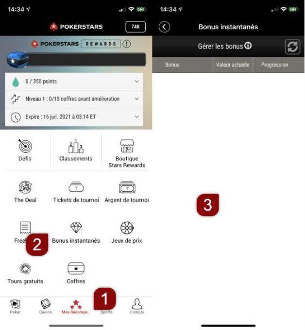 Track progress of Instant Bonus on Mobile