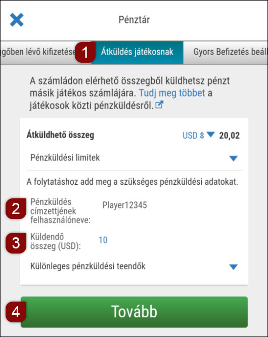 A játékosok közötti pénzküldés eszköze a mobilszoftverben