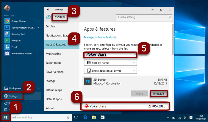 Uninstall software in Windows 10