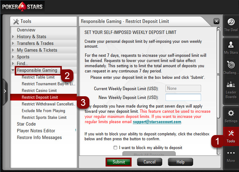 Steps to set deposit limits on Desktop