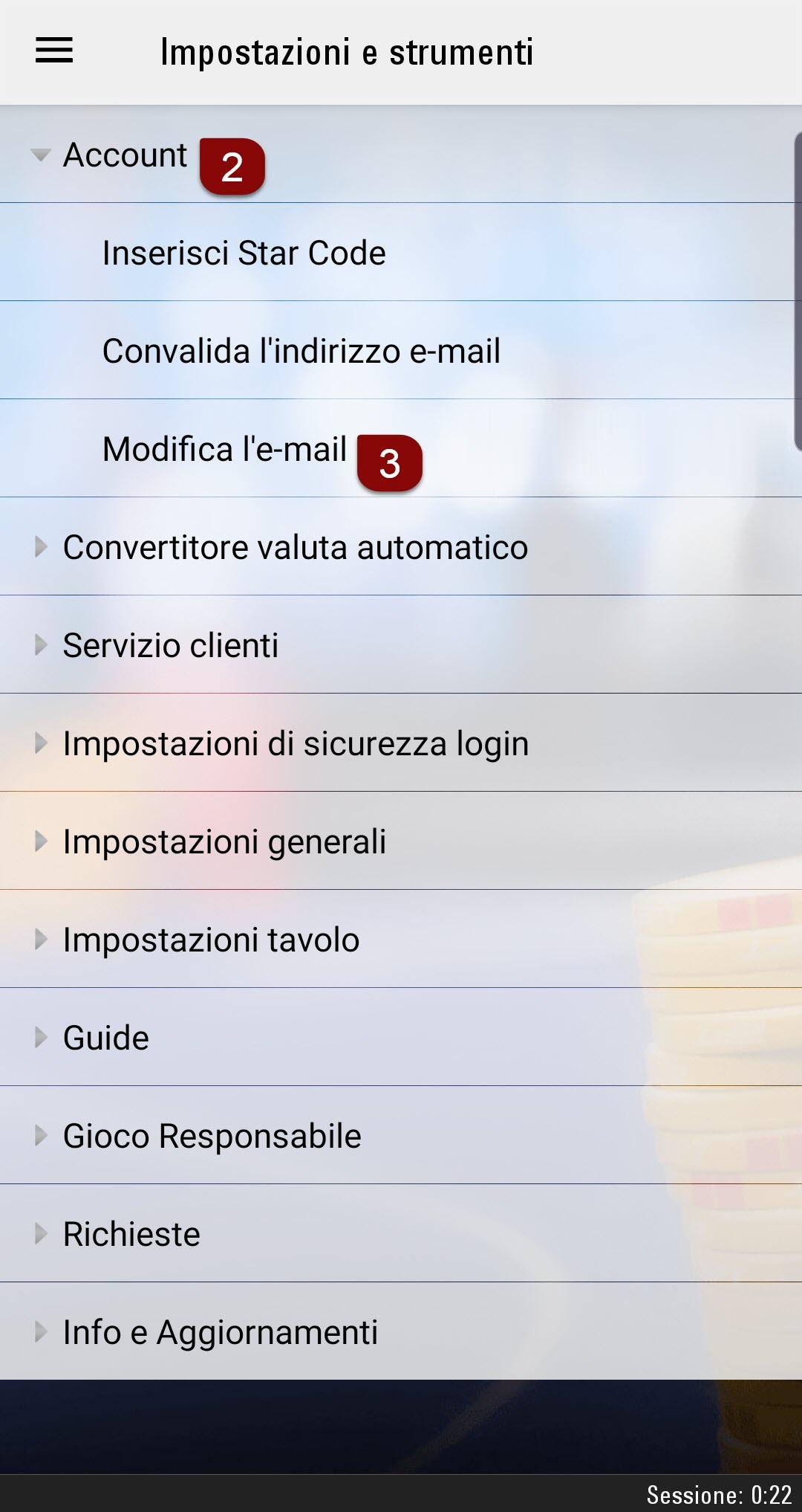 Modifica indirizzo email da dispositivo mobile