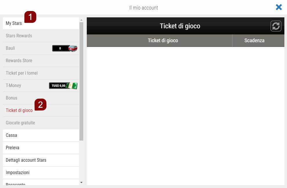 Passaggi da seguire per usare il tuo Ticket di Gioco sul sito web