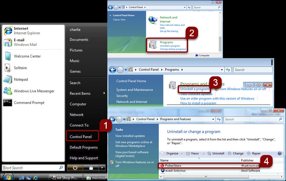 uninstall software in windows 7