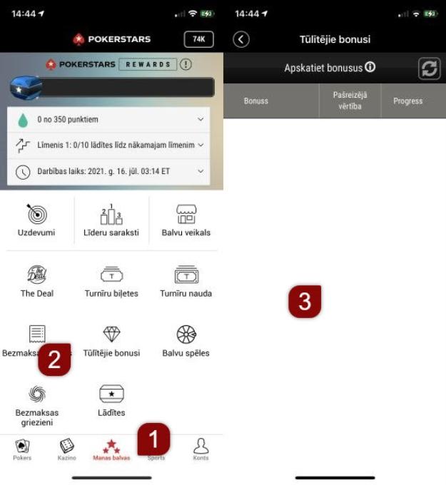 Tūlītējā bonusa progresa apskate mobilajā ierīcē