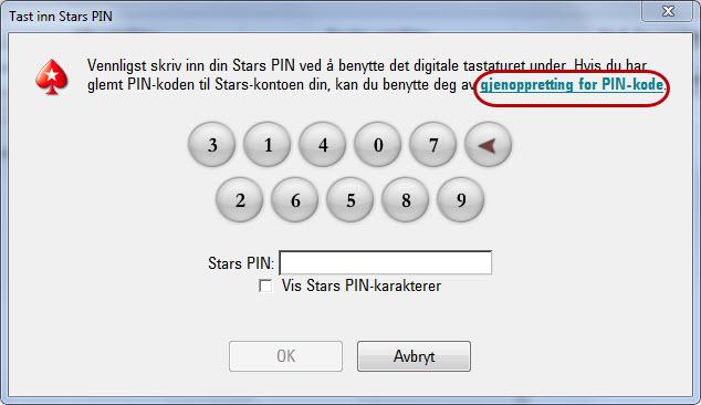Gjenopprettingstjeneste for Stars PIN