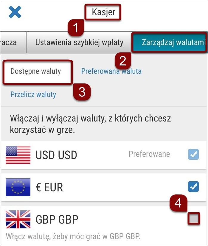 Dodawanie walut w ustawieniach konta