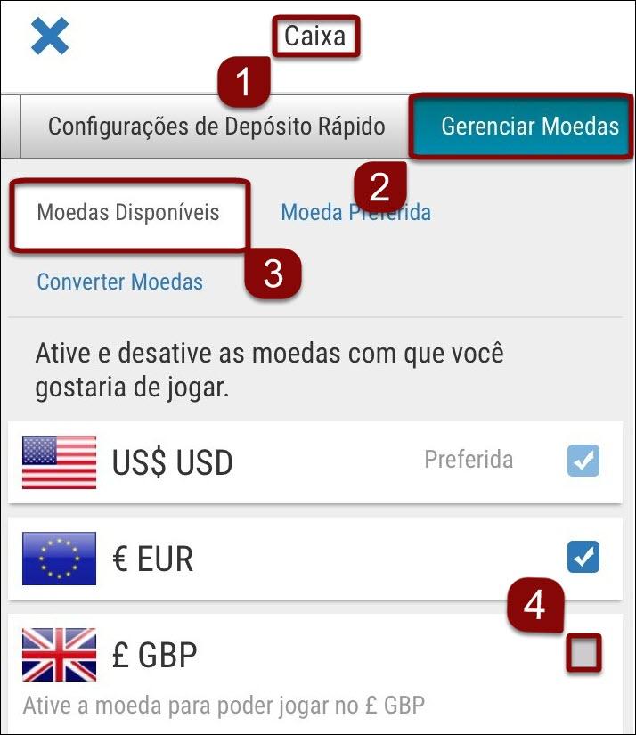 Adicionar moedas à conta