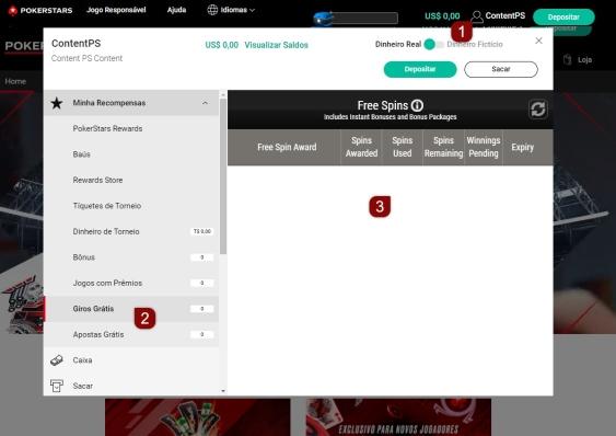 Passos a seguir a partir da guia Meu Stars para verificar os Giros Grátis na plataforma web