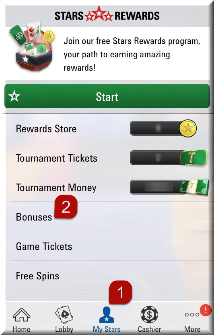 """Щоб відмовитися від миттєвого бонуса у мобільному клієнті, відкрийте секцію """"Мій Stars"""" і натисніть на бонуси."""