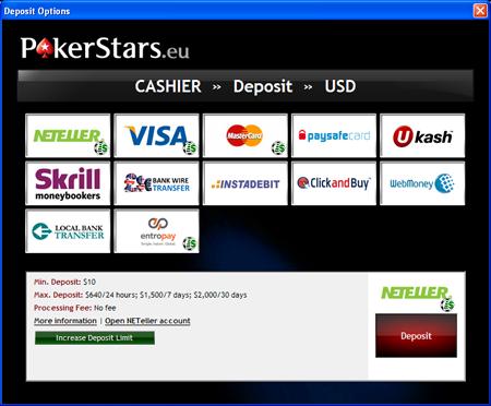 PokerStars Deposit Options