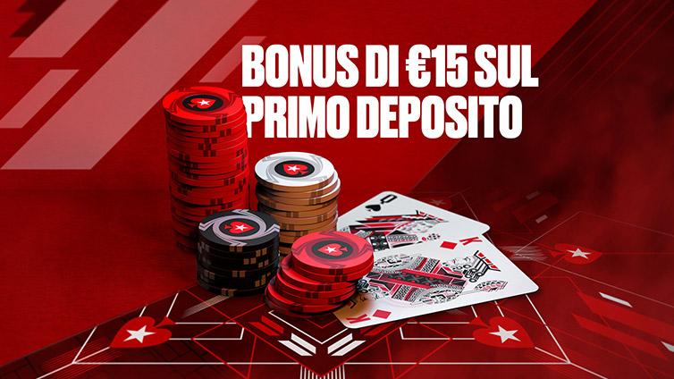 Bonus di €15 sul primo deposito