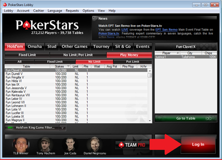 Log In PokerStars