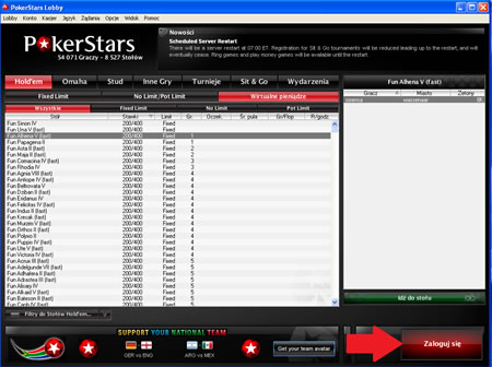 PokerStars Lobby